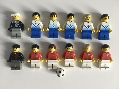 X12 LEGO MINIFIGURES SOCCER PLAYERS & BALL FROM SET 3420 CHAMPIONSHIP CHALLENGE • 12.99£