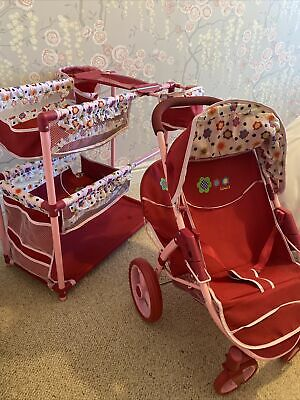 Bundle Set Childrens Play Pram And Cot With Attached Highchairs For Two Dolls • 5£