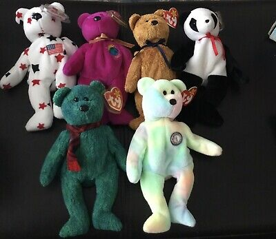 Ty Beanie Bears Collection Of 6 With Tags • 8£
