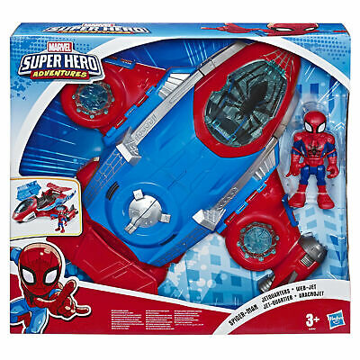 Marvel Super Hero Adventures Toys, Spider-Man Jetquarters, 12cm Action Figure • 36.49£