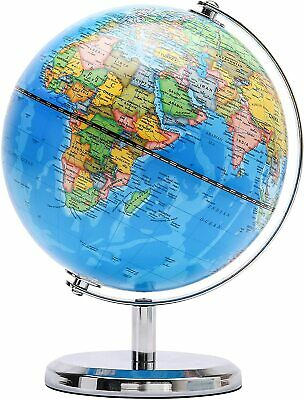 Exerz Educational Swivel World Globe Dia 14CM Metallic Black Blue Antique • 12.99£