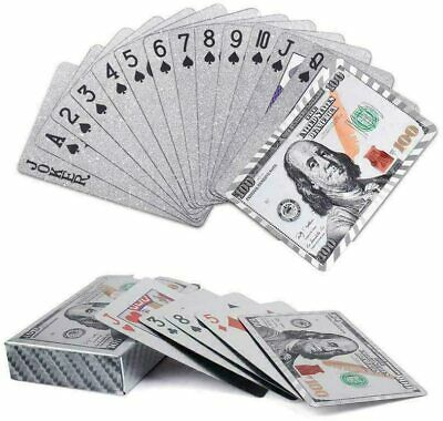 New Silver Plated Waterproof Durable Playing Cards Game Full Poker Rummy Deck • 2.99£