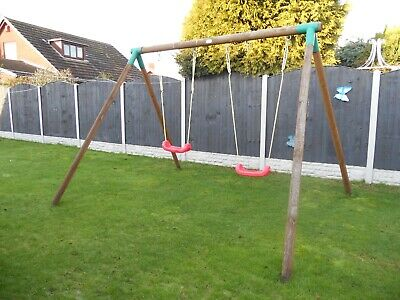 Kids Wooden Garden Double Swing Set • 50£