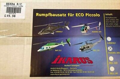Ikarus Piccolo Fuselage Kit Hughes 300- Indoor Model Flying Helicopter Bodyset • 49.88£