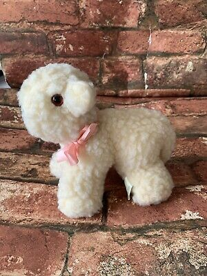 Vintage Baby Lamb Sheep Soft Plush Toy Pink Bow Great Britain Acrylic • 14.99£