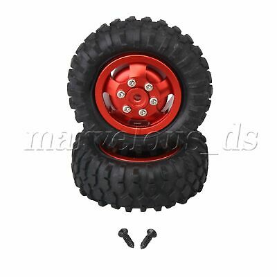 2 Pieces RC1:10 55mm OD 5 Spokes Red Wheels Rim Tires D12-007R With Screws • 19.69£