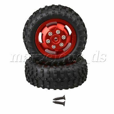 2 Pieces RC1:10 5cm OD 5 Spokes Red Wheels Rim Tires D12-005R With Screws • 19.56£