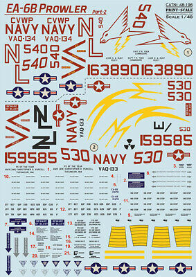 Print Scale 48-196 - 1/48 - EA-6 Prowler Part 2 Scale Decal Plastic Model Kit UK • 18.99£