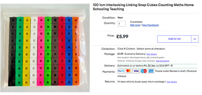 100 1cm Interlocking Linking Snap Cubes Counting Maths Home Schooling Teaching • 5.99£
