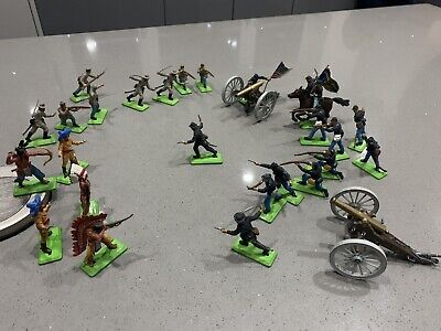 Britains Deetail Us Army, Indians, Confederates And Cannons Job Lot • 15£