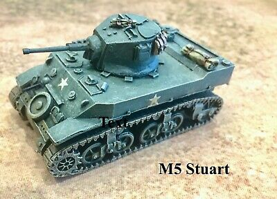 Painted 28mm (1/56) WWII US M5 Stuart Light Tank From 'Company B' • 14.99£