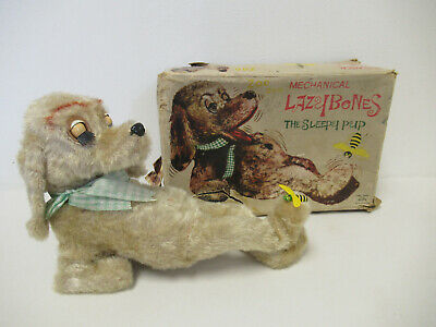Vintage ALPS Japan Lazy Bones Sleepy Pup With Bee Mechanical Wind Up Toy • 50£