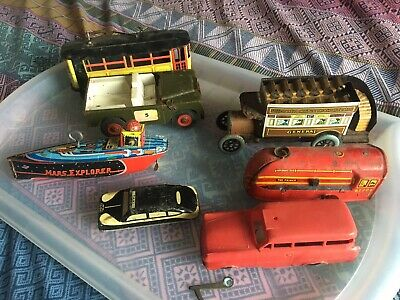 Vintage Tin Toys And A Couple Of Modern Ones Also Old Plastic Car • 8.50£