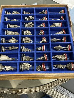 The Armada Chess Set By The Danbury Mint Pewter With Board/storage Box • 145£