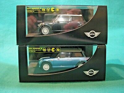 SCALEXTRIC BMW Dealership Mini Cooper S Astro Black  / Electric Blue PAIR BNIB  • 80£