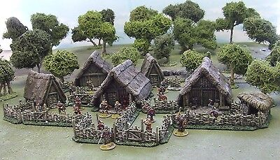 28MM ANCIENT Or DARK AGE VILLAGE - 'PAINTED TO COLLECTORS STANDARD' • 199£