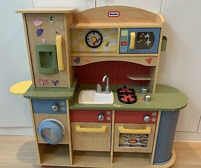 Little Tikes WOODEN Cooking Creations Premium Kitchen, Lots Of Toy Food/extras • 10.20£