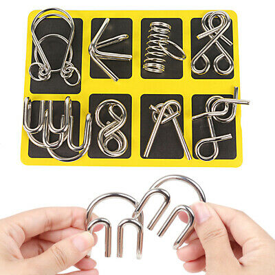 8pcs Metal Puzzle Wire IQ Mind Brain Kids Adults Stress Reliever Toy Xmas Gifts • 4.79£
