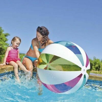 Giant Intex 42  Inflatable Beach Ball Colourful Stripe Design Jumbo Ball - 107cm • 5.99£