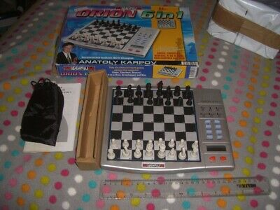 Millenium Orion 6 In 1 Electronic Chess Set, Has All 32 Chessmen, 24 Draughts, W • 5£