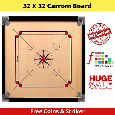 32  X 32  Large Carrom Board Family Game With Striker & Coins Great Quality Stl • 59.99£