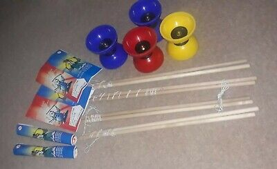 4 X USED Diabolos Circus Toys Equipment Bundle Red Yellow Blue Wood String • 8£