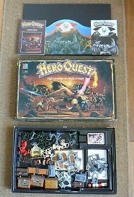 HERO QUEST Fantasy Role Playing Board Game COMPLETE UNPAINTED MB TSR Magic 1989 • 31£