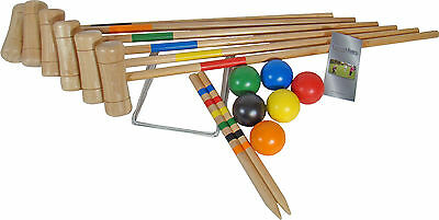 Croquet Set 6 Player Wooden Croquet Set Garden Games Family Game Family Sports • 51.99£