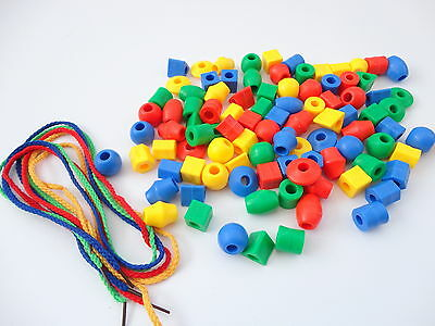 60 Counting & Sorting Beads - 4 Threading Laces - Math Education Early Learning • 5.95£