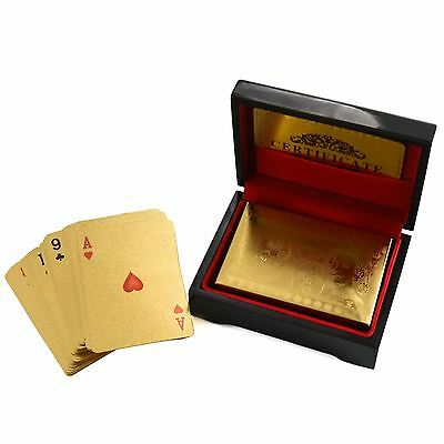 24k Gold Plated Playing Cards Full Poker Deck 99.9% Pure With Box Christmas Gift • 7.95£