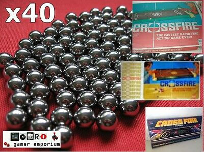 Replacement 40x Spare Steel Ball Bearings  CROSSFIRE Game  IDEAL MB GAMES Balls • 3.95£