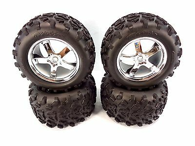 NEW TRAXXAS T-MAXX 3.3 4907 COMPLETE SET OF 4 TIRES AND WHEELS 14mm 2.5 .15 4910 • 23.61£