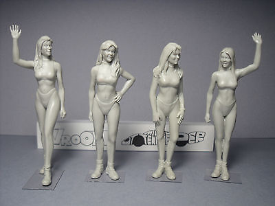 4  Figurines  1/24  Hawaian  Tropic  Girls  Set  313  By  Vroom  For  Carrera • 40.18£