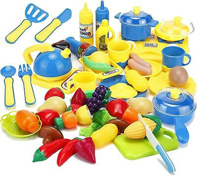 45Pcs Cooking Toys Cutting Fruits Vegetables Pretend Play Food Playset + Stove • 9.99£
