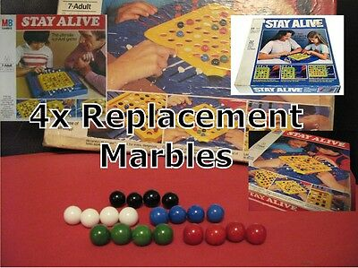 MB Games Vintage STAY ALIVE Replacement / Spare Marbles Balls X4 - Game Marbels • 3.95£