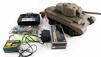 NEW! UPGRADED 2.4GHZ SMOKE SOUND HENG LONG RC US M26 Pershing Snow Leopard Tank • 139.99£