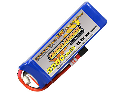 Overlander Supersport Lipo 2200mah 3S 11.1v 35C Deans XT60 Or EC3 Li-Po Battery • 21.95£