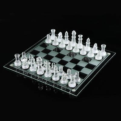 Glass Board Traditional Chess Set Game Unique Beautiful Gift 32 Pieces Fun Party • 11.99£