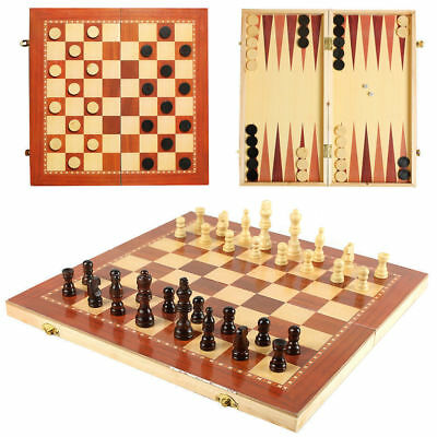 3 In 1 Hand Made Wooden Board Game Set Travel Games Chess Backgammon Draughts Uk • 7.49£