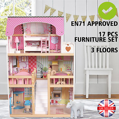 Wooden Dolls House Kids Doll House With 17PCS Furniture & Staircase - Pink • 79.99£