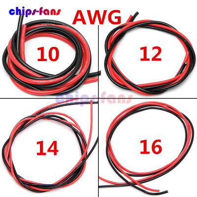 10/12/14/16 AWG Gauge Wire Flexible Silicone Copper  Black Red 2M Cables For RC • 4.25£