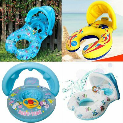 Inflatable Mother & Baby Swim Ring Float Raft Kids Seat Swimming Pool Summer UK • 5.99£