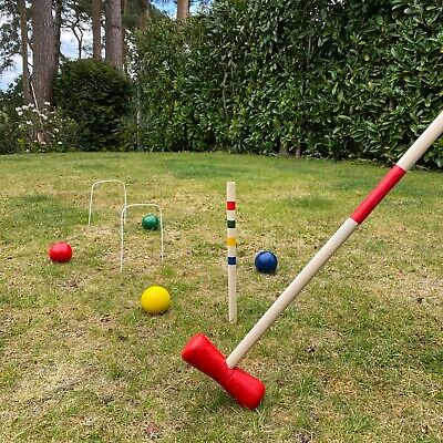 Croquet Traditional Set For 4 Players Wooden Garden Lawn Outdoor Game • 26.99£