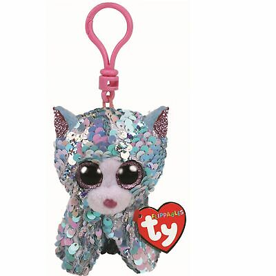 Ty Beanie Flippables 35308 Whimsy The Blue Cat Sequin Flippable Key Clip • 4.50£