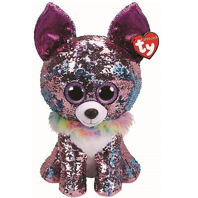 Ty Beanie Flippables 36764 Yappy Blue Pink Chihuahua Sequin Flippable Large • 33.11£