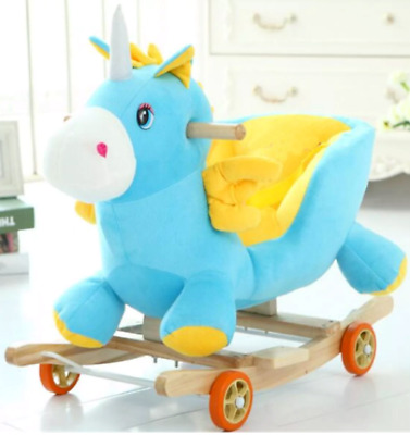 Baby Kids Rocking Horse Rocker Toy With Music, Wheels And Seat Belt • 204.99£