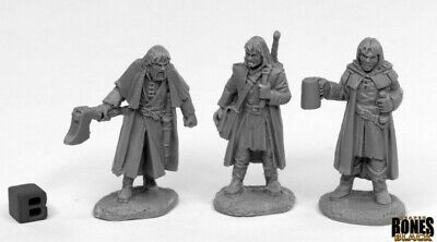 Reaper Miniatures - 44016 - Townsfolk Dreadmere Mercencaries (3) - Bones Black • 7.94£
