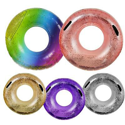 Inflatable Rubber Swimming Ring Glitter Lounge Pool Sea Travel Holiday Fun Sun • 5.69£