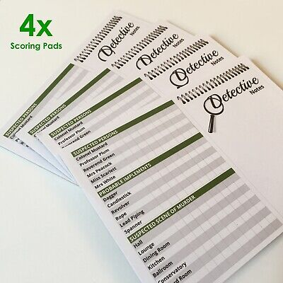 CLUEDO Detective Notes Spare Parts - 4 Pack 25 Sheet Replacement Refill Pads • 7.99£