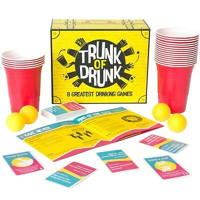Trunk Of Drunk - 8 Best Drinking Games (Beer Pong Ring Of Fire Adult Hen Party) • 14.99£